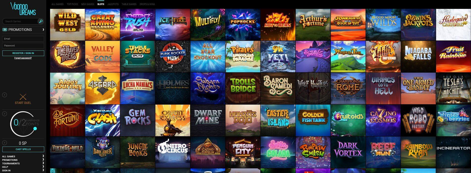 Games at Voodoodreams Casino